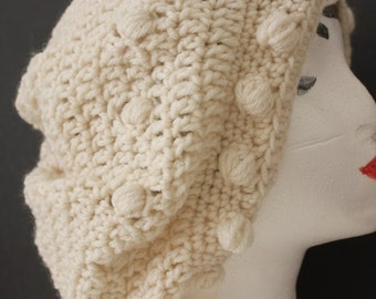"""Knitted """"Cream/Off White"""" Beanie,  Slouchy Head Accessory,  Boho-chic"""