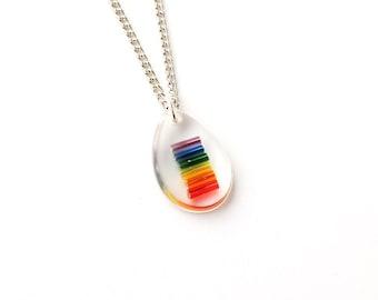 Small Rainbow Necklace, Rainbow Colour Resin Pendant, Gay Pride, Rainbow Jewelry, Resin Jewelry Jewellery, LGBT, UK, 1626