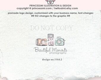 1164-2 photography logo, three cameras logo design, vintage camera,  logo design, watermark design, photographer, business card