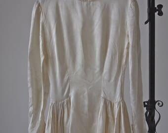30's/40's Wedding Gown Ivory Slipper Satin Full Skirt Pooling Train Dress Size XS
