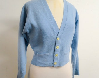 1950s Pale blue cashmere Pringle cardigan / 50s duck egg soft wool V neck button front sweater - S