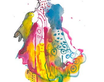 "Original Abstract Fashion Watercolor Figure Painting Art featuring Intricate Dress Illustration, 9"" x 12"" - A15"