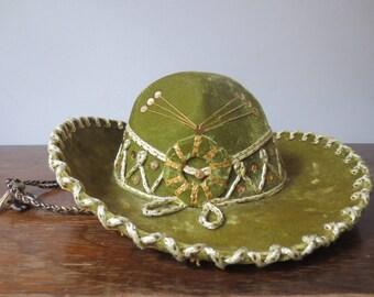 Vintage Olive Green Velveteen Embellished Pigalle Mariachi Hat, Sombrero, Child's Size