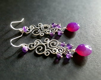 Purple Chalcedony Amethyst Scroll Work Earrings Gift for Her