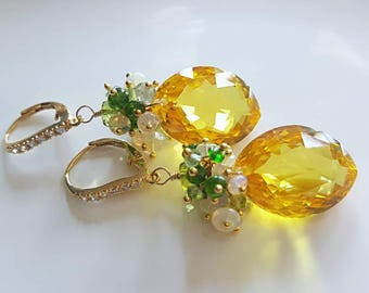 New! Sunshine Yellow Citrine with Ethiopian Opal and Chrome Diopside Gemstone Cluster Gold Vermeil CZ Pave Leverback Earrings