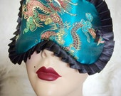 Ready to ship - jade blue green satin dragon print with black trim trim Pinup Burlesque by Love Me Sugar HH