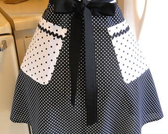 Women's Retro Style Half Apron in Black Polka Dots