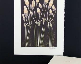 linocut, bud, spring, green, pink, chocolate brown, flowers, home interior, modern art, linocut print, printmaking