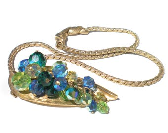 Blue and Green Cluster Necklace with Aurora Borealis Glass Beads with Stylized Gold Tone Leaf Pendant - Vintage Jewelry