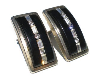 Black and White Clip Earrings Art Deco Revival with Baguette Rhinestones - Vintage Jewelry