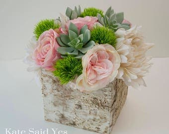 Succulent Centerpiece, Wedding Centerpiece, Rose and Dahlia Wedding Centerpiece, Rustic Centerpiece, Birch Centerpiece