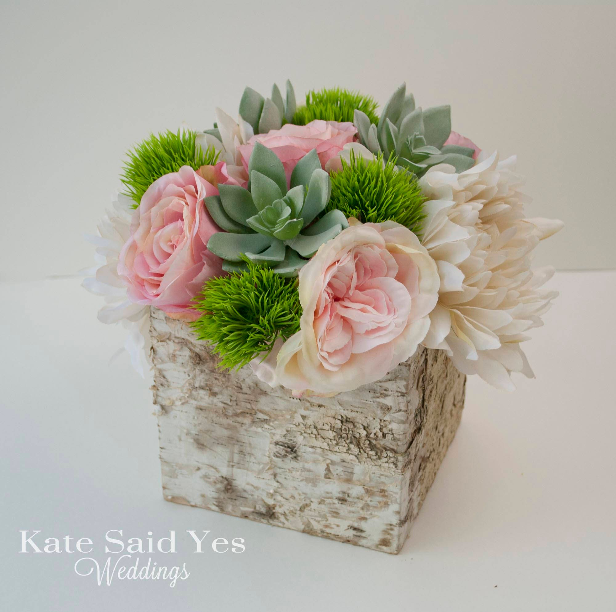 Succulent Centerpiece Wedding Centerpiece Rose And Dahlia