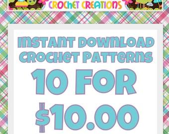 Crochet Pattern Bundle SALE - 10 for 10 - digital PDF Files (not finished items)
