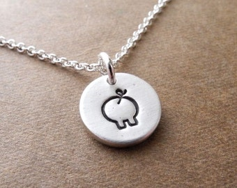 Teeny Tiny Pig Necklace, Little Pig Charm, Fine Silver, Sterling Silver Chain, Made To Order