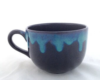 Black Latte Cappuccino Soup Mug - Blue Green Drip Rim - Large Coffee and Soup Mug Pottery - 32 ounces