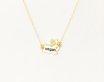 Vegan Necklace // 14kt Gold Rabbit Necklace // Animal Rights // Bunny Jewelry // Activist Jewelry // Freedom for ALL
