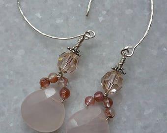 Faceted Pale Pink Quartz Gemstone Doll Earrings // Hammered Sterling  Earrings // Swarovsky Silk Crystals // Doll Earrings // Lady Earrings