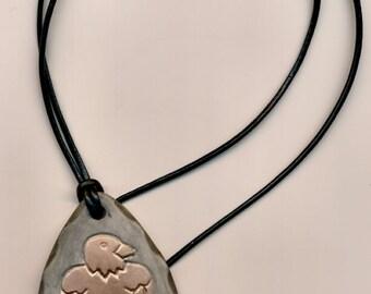 Porcelain Arrowhead with Eagle Design Necklace