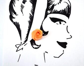 Orange Rose Vintage Clip-On Earrings -Sheer fabric - Bridal jewelry
