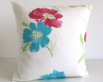 Floral pillow cover, 16x16 cushion cover - Painted Petals Red