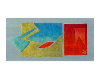 Abstract original artwork on wood panel, cut-out-art, modern abstract, art card gift idea