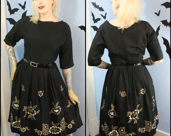 Lovely True Vintage 1950s 50s Womens Black Hand Painted Floral Dress Silk Blend Retro Modern Size Medium Large Cocktail Dress
