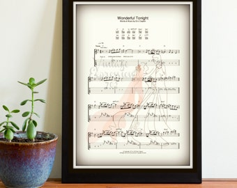 Wonderful Tonight, Eric Clapton, First Dance, Wedding Song, Wedding Music, Our Song, Anniversary, Love Song, Print