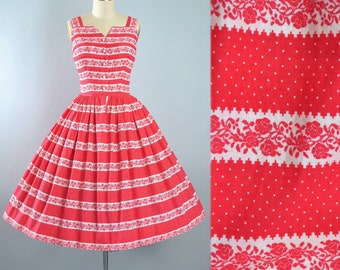 Vintage 50s Dress / 1950s Red Cotton Sundress Floral ROSE Print Stripe White Polka DOTS Full Circle Skirt Pinup Picnic Garden Party XS Small