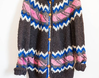 nordic woven wool cardigan winter sweater - brown pink blue - women's size large