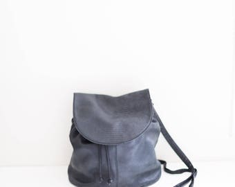 black navy leather satchel hipster bag