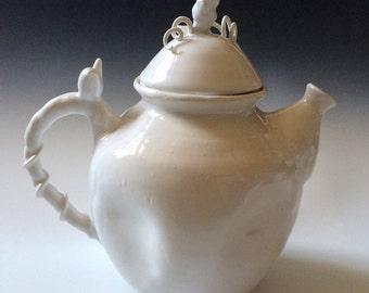 White teapot,Nature Inspired, Handmade in porcelain