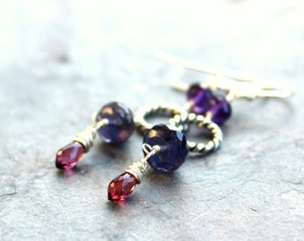 Multi Gemstone Earrings Iolite Amethyst Garnet Red Purple Blue Sterling Silver Dangles
