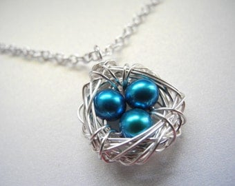 Bird Nest Jewelry, Three Robin's Egg Blue Cultured Freshwater Pearl Eggs Wire Wrapped Bird Nest Necklace