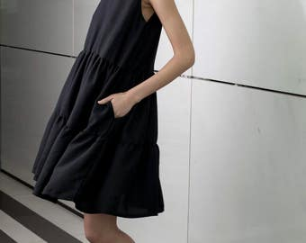 Black knee length dress, skirt floors dress, summer elegant dress, mini length, formal party dress, loose fit, sleeveless top, sundress