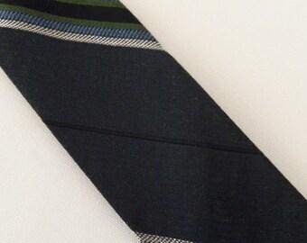"""Vintage 60's Skinny Tie Necktie Gray Blue Black White Diagonal Stripes Acetate 2"""""""