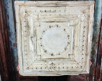 Large Antique Tin Ceiling Tile ~ 24 x 24 ~ salvaged ~ rustic condition