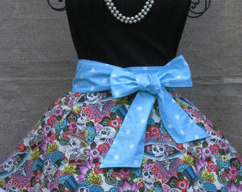 Day of the Dead Ladies Fancy Hostess, Pin-Up, Vintage Style, Half Apron