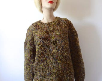 1960s Wool Sweater vintage oversized chunky knit marled pullover crewneck from Italy