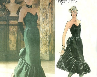 Strapless Evening Dress Unused Bust 36 Vogue 1471 Designer Original Pattern Bellville Sassoon Size 14 FF