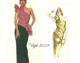 Vogue Designer Original 1635 One Shoulder Straight Evening Dress Bellville Sassoon Size 8 Bust 31.5