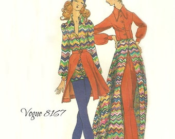 Vogue 8167 Misses Short or Long Jumpsuit and Flared Skirt Pattern 1970s Size 14 Bust 36