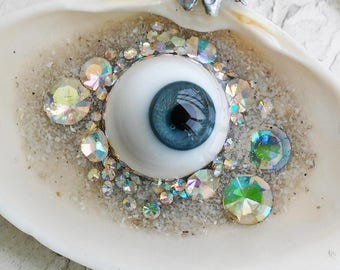 Blue Eye Iridescent Treasure Seashell Resin Pendant Jewelry Necklace