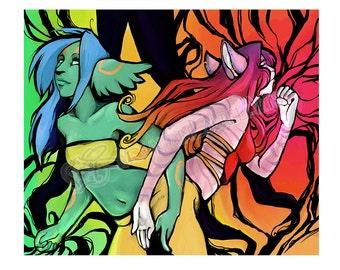 Colorful Catgirls Furry Print - Anthro Digital Art Print -  Rainbow Furry Art Letter Size Print - Multicolor Furries