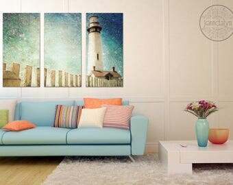 triptych wall art - large wall art - lighthouse decor - lighthouse wall art - triptych canvas