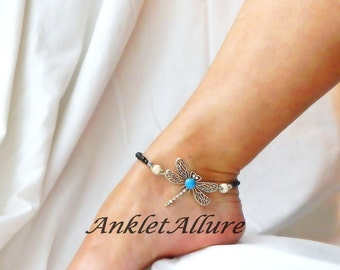 Buzzzn Southwestern Anklet Dragonfly Anklet Beach Ankle Bracelet Turquoise Body Jewelry Fetish Foot Jewelry