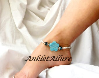 Beach Anklet Flower Ankle Bracelet Beach Weddng Jewelry Body Jewelry Fetish Foot Jewerly