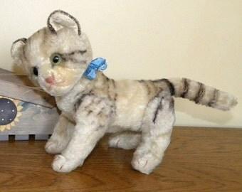 Steiff mohair cat - Steiff Jointed Cat - Steiff Tabby Cat - 1960's Steiff Cat