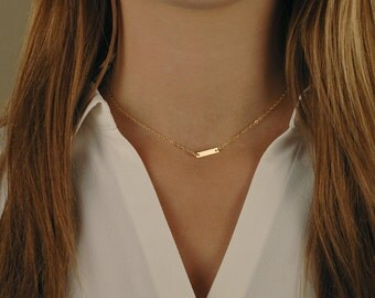 Tiny Gold Bar Necklace, Gold Filled, Sterling Silver, or Rose Gold Filled, Layering Jewelry, Dainty, Delicate Gold Choker