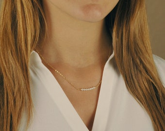 Pearl Bar Necklace, Gold Filled, Sterling Silver, or Rose Gold Filled, Layering Jewelry, Dainty, Delicate Gold Choker,