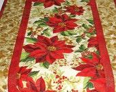Christmas Table Runner with Poinsettias, from Kaufman Holiday Flourish